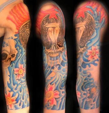 Comments: Skulls With Water Vomit Flowers and Skull Fairy Tattoo. not quite