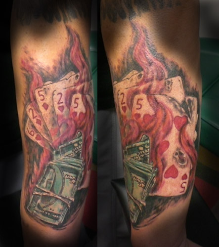Ribbon dollar sign tattoo Tribal money symbol tattoo design.