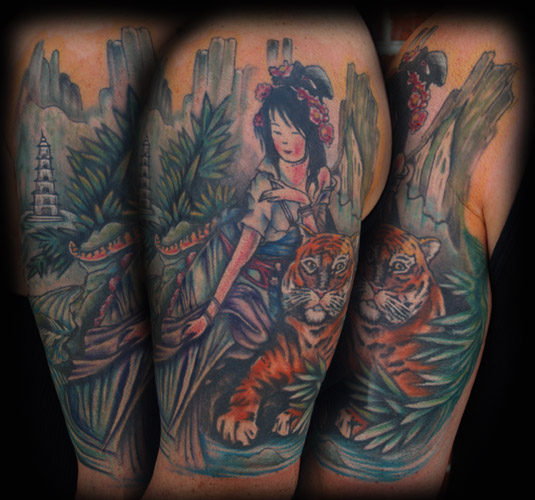 arm tattoos for girls. Sexy Hot Geisha Arm Tattoos