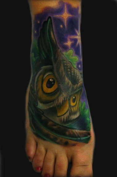 Women Foot Owl Tattoos Picture 10