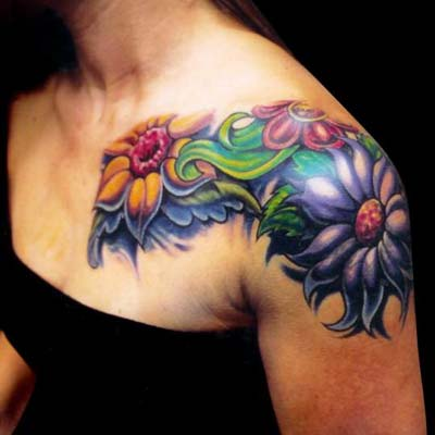 flower tattoo for shoulder. Mike Cole - Flower Shoulder Sleeve. Keyword Galleries: Color Tattoos,