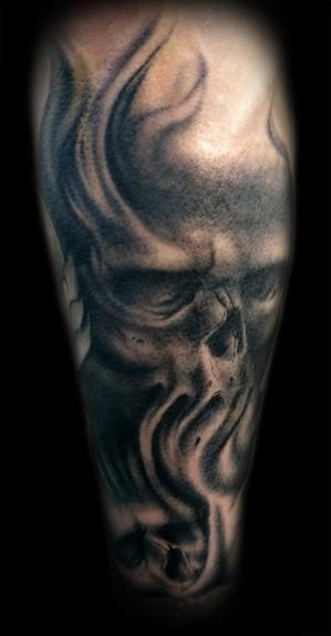 97 Best Skull Tattoos On Thigh   Black And Grey Skull Tattoo Designs