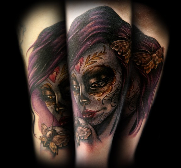 Kelly Doty - Day of the Dead Moth Girl tattoo. Large Image Leave Comment