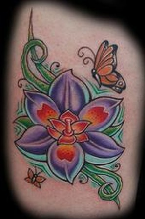 Best Flower Tattoo Design For Girls On The Side Body