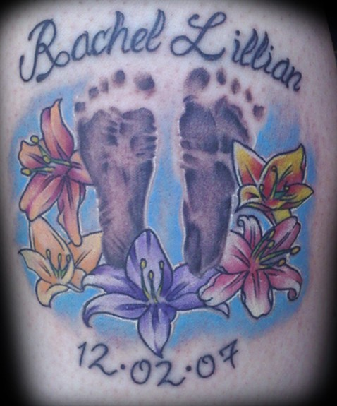 Comments: Foot print tattoos, color tattoos, flower tattoos, calf tattoos,