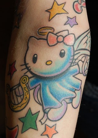 Two kings tattooing tattoos mike pace hello kitty angel for Hello kitty tattoo sleeve