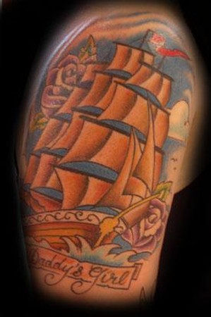 ship tattoo. Tattoos Color