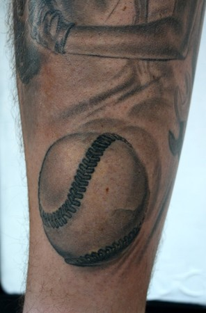 Comments: i love this baseball tattoo. close up angle of it. i dont know