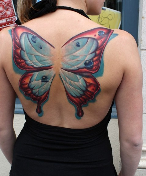 Ty McEwen - butterfly wings. Large Image. Keyword Galleries: Color Tattoos,