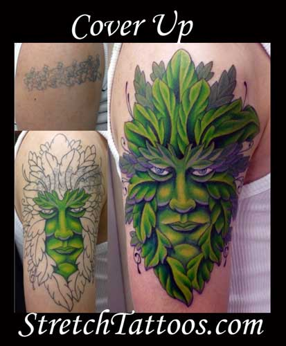 tattoo cover up. Stretch - Green Man Cover Up