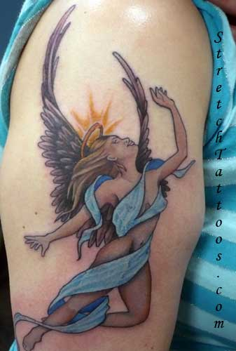 Labels: angel tattoo art
