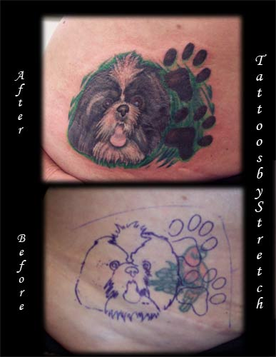 < previous | next > Looking for unique Tattoos? Dog Coverup