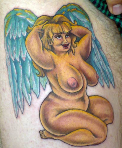 angel tattoos - back tattoos. angel hate ambigram tattoos. angel tattoos
