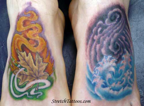 Off the Map Tattoo : Tattoos : Stretch : Fire Earth Wind Water