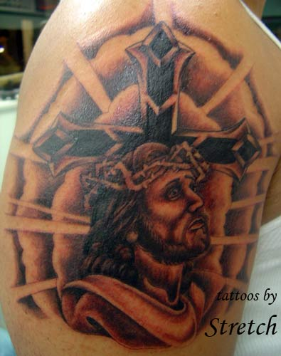jesus cross tattoo designs. Stretch - Jesus