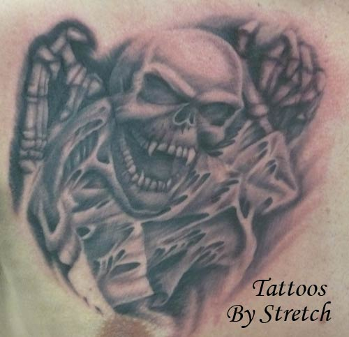 Stretch - Black and Gray Skull