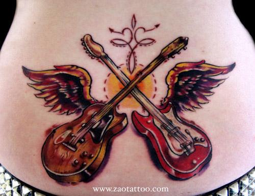 Tattoos Of Guitars. Vintage Guitars Tattoo