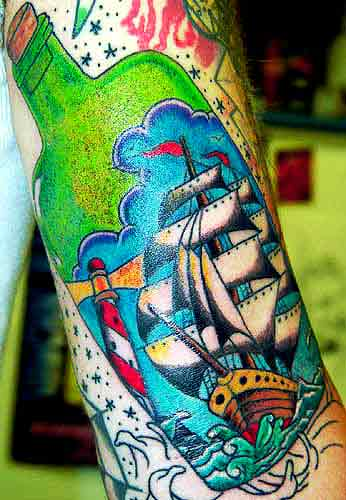 ship tattoo. Alex Sherker - Ship in a