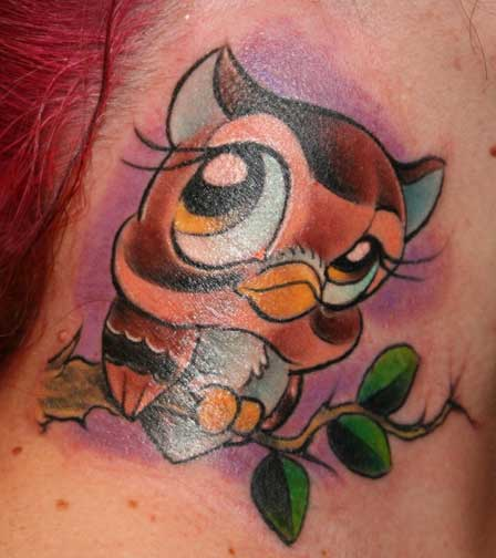 Keyword Galleries: Color Tattoos, Cartoon Tattoos, nature animal owl Tattoos