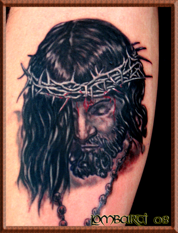 Ankle Rosary Beads and Cross Tattoo Chris Lombardi - Jesus and Rosary Large