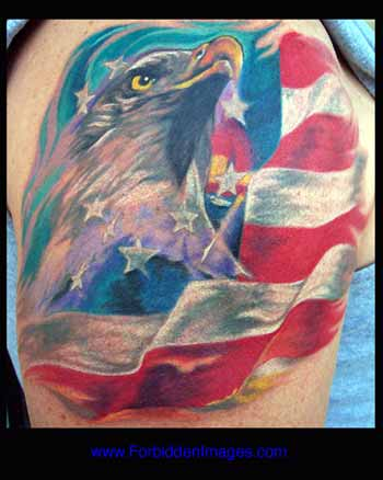 A flying eagle with American flag tattoo design on arm.