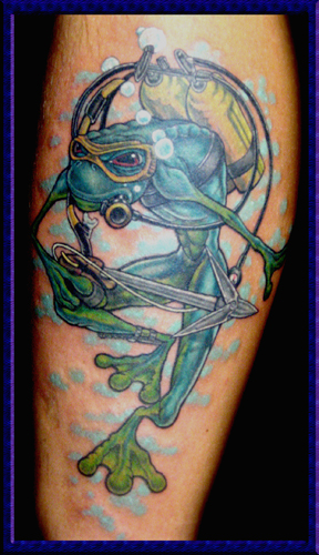 Frog Tattoo w/Pixels frog tattoos designs. Frog Diver.