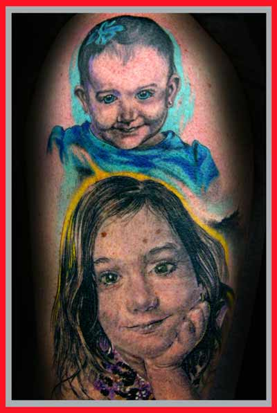 Children portraits tattoos.Love working with color and photorealism.
