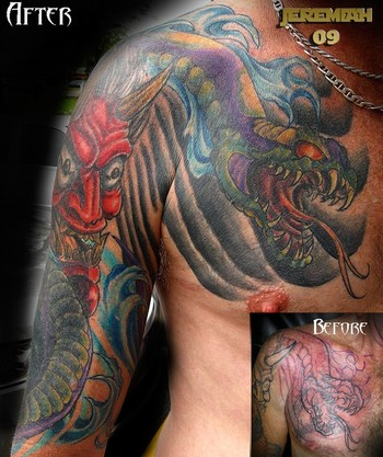 half sleeve and chest tattoo