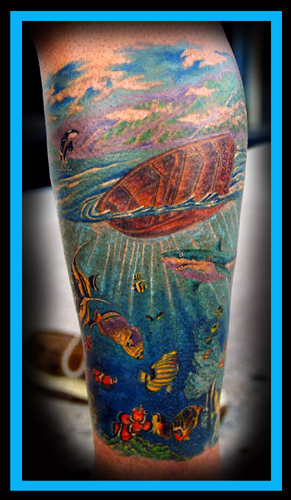 olold school hammerhead shark tattooed by johannes skindeeplove,