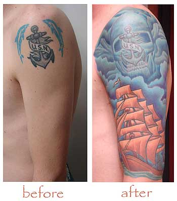 cat-with-bones. Rate this tattoo skull and bones. Placement: Arm Comments: before and afterlittle bit of a