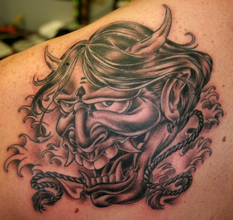 Hannya Mask Tattoo, Japanese Flower Tattoos. Tattoos Black and Gray.