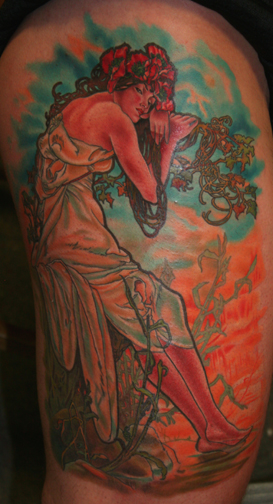 fitofhonesty: Alphonse Mucha tattoo. If I got a sleeve, it'd be