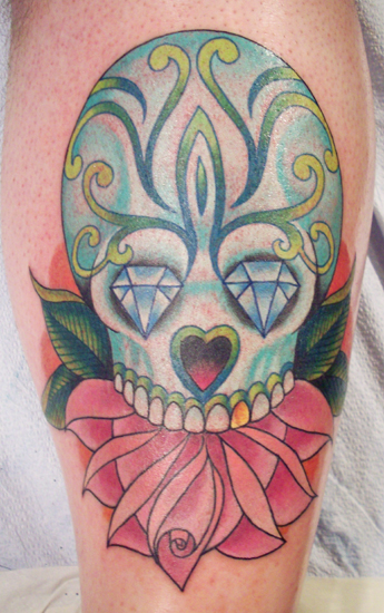 day of dead girl tattoo design. Day of dead skull in arm