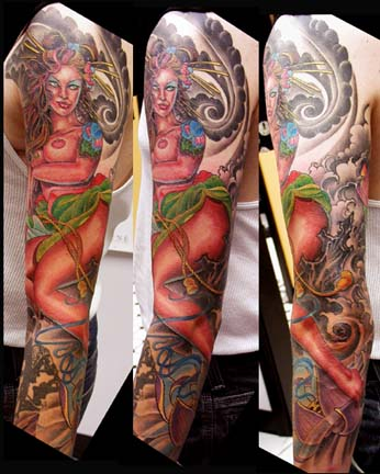 Tattoo Galleries: Geisha, and flower Tattoo Design