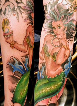 Tattoo Galleries: Mermaid w/ Pearl Tattoo Design