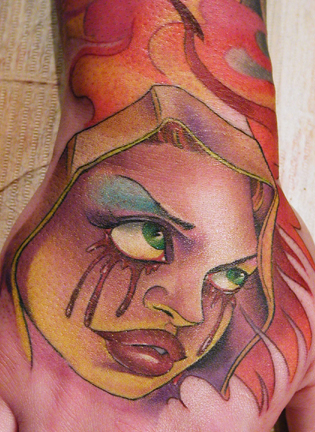 Tattoo Galleries: Bleeding eye Virgin. Tattoo Design