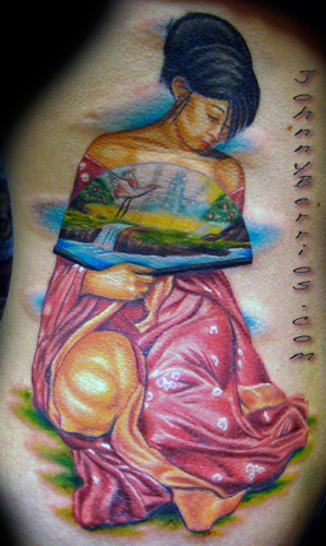 Colorful Geisha Tattoo Design Japanese Tattoo Pictures