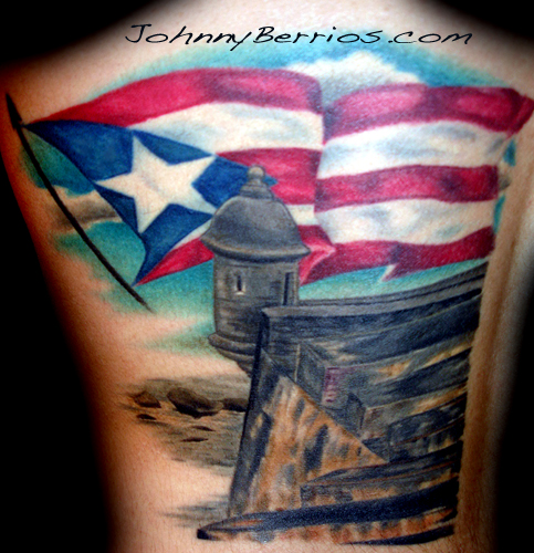 Sporting Puerto Rican tattoos