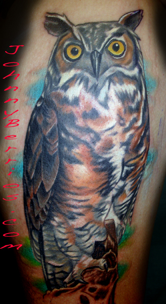 Great Horned Owl Black And Grey Tattoo Johnny Berrios - Owl