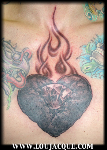 Charcoal and diamond sacred heart. a fellow tattoo artist and friend Chris