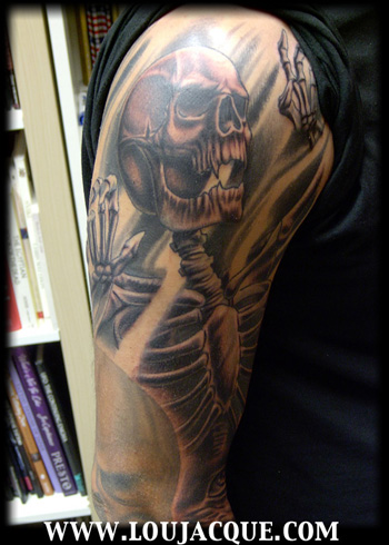 Upper  Tattoos on Off The Map Tattoo   Tattoos   Lou Jacque   Upper Arm Death