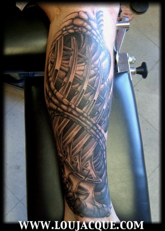 Freehand black and grey bio mechanical tattoo by master ya.