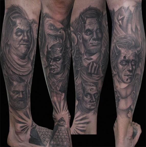 Tattoos · Page 1. Dead President Evil Leg sleeve