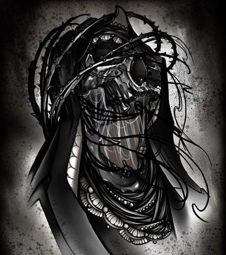 Art Galleries - Al Perez Skull in thorn crown Painting - 138387