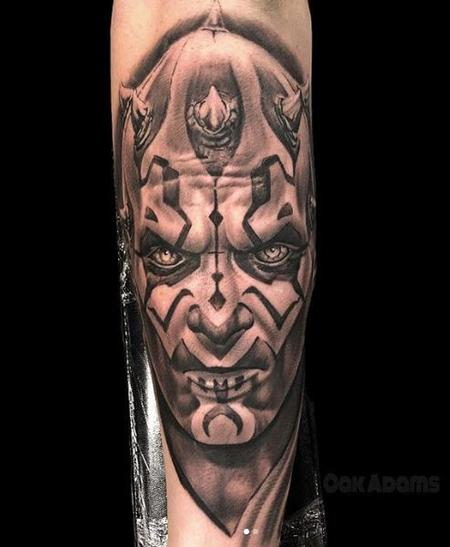 tattoos/ - Black and Grey Darth Maul from Star Wars Portrait - 137861