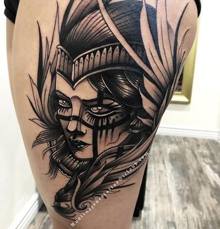tattoos/ - Black and Gray NeoTraditional Valkyrie Tattoo - 137416