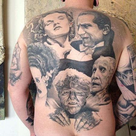 tattoos/ - Classic Horror Movie Portraits Backpiece - 134556