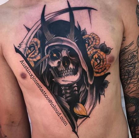 tattoos/ - Reaper and Roses Chest Tattoo - 134659