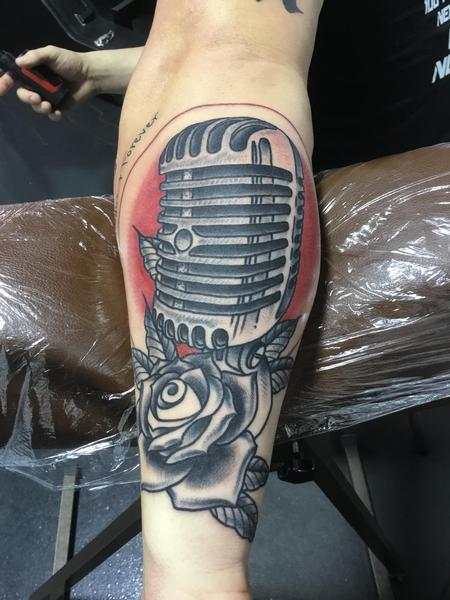 tattoos/ - Old Microphone and Rose - 133904