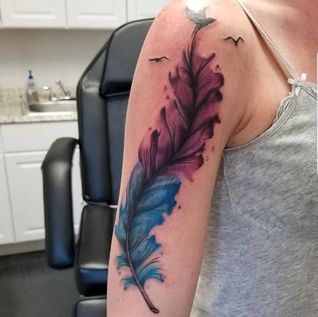 tattoos/ - water colorish feather - 140011